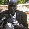 The Commissioner of Aweil East County, Awet Kiir Awet, briefs reporters about the bombardment, July 20.