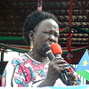 Alisa Nyawal speaks on behalf of families of deceased fighters in Malakal, July 31.