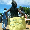 A UN staff during the demonstration in Juba, August 13.