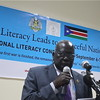 South Sudanese Minister of General Education and Instruction, Joseph Ukel, delivering his speech, September 6.