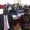 Justice Minister John Luk Jok (left) and other members of the Constitutional Review Commission during a meeting in Juba on Wednesday, November 14.