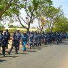 Police forces marching on the streets of Juba.