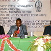Unity State Governor Taban Deng Gai (middle) and the Speaker of Unity State Legislative Assembly Simon Maguek Gai (left), October 27, 2011.