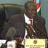 The Vice President of the Republic of South Sudan, Riak Machar Teny, speaking to the media about 'A Journey of Healing for National Reconciliation' in his office, February 7.
