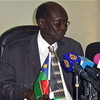Barnaba Marial Benjamin during one of many media briefings as Government Spokesman, in Juba on February 19.