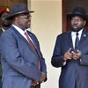 President Salva Kiir and his Deputy Riek Machar, who had led the reconciliation committee, April 12.