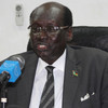 South Sudan's Minister of Information and Broadcasting, Benjamin Barnaba Marial, addressing the press in Juba, May 28.