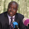 Foreign Affairs Minister Nhial Deng Nhial speaks to reporters in Juba, May 29.