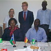 German Ambassador-designate to S. Sudan David Schwake, Beate Mueller-Grunewald of the German Embassy and the award recipients in Juba, August 2.