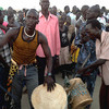 "Men beating the drum during the ""Traditional Culture Days"" in Bentiu, Sunday, November 17."