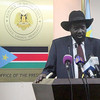 South Sudan's President Salva Kiir addresses the press in Juba on Wednesday, December 18.