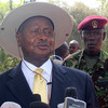 Yoweri Museveni speaks to the press at J-One Presidential Palace in Juba on December 30, 2013.