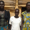 Sarah Manyang (left), Elizabeth Yal and Rebbeca Ajak in the Nyumanzi refugee settlement, April 29.