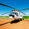 A WFP helicopter in Mingkaman, South Sudan, March 3, 2015.