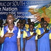 Students practicing the national anthem of South Sudan.