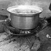 A meal prepared on a charcoal stove, South Sudan's main energy source for cooking, in Juba on June 25, 2012.