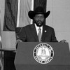 President Salva Kiir addressing diplomats at the Presidential Palace in Juba on July 20, 2011.