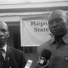 Rene Ilume Tembele, DRC's Ambassador to South Sudan (left), together with Stephen Lado, Yei River State Information Minister, speaking to journalists in Yei, April 2016. (photo: The Niles | Alison Lemeri)
