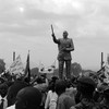 The statue of late John Garang during independence celebrations in Juba on July 9, 2011.