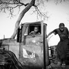 Nubian children play on a broken down military truck on the outskirts of the Yida refugee camp.