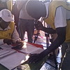 Polling Officials counting votes in Juba.