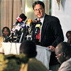 David Gressly (at podium), UN Mission in Sudan (UNMIS) Regional Coordinator for Southern Sudan.