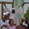 Sudanvotes journalists outside the famous Hantoub school in Wad Madani