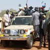GoSS President Salva Kiir waving to thousands who attended his first election rally in Juba