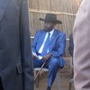 President Salva Kiir waiting for the voting booth to be erected