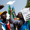 Southern Sudanese citizens chant slogans and hold placards as they march in the streets in support of the independence referendum in Juba, South Sudan.