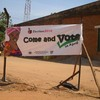 An election poster outside Yei Mosque - seems to have lost its meaning