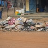 Rubbish discarded on the street in Yei Town Centre