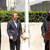 Ban Ki-moon (centre), Riek Machar Teny-Dhurgon (right) and Joseph Deiss (left) attend the flag-raising ceremony to mark the admission of the Republic of South Sudan to the community of nations.
