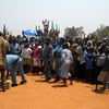 SPLM supporters in Yei welcoming their leaders