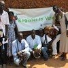 Journalists from Southern Sudan outside the Voter Registration Office