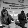 Norwegian Ambassador to South Sudan Tone Tinnes (left) and Animal Resources and Fisheries Minister James Janka Duku (centre) during the signing of the cooperation agreement in Juba, June 2016.
