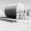 Members of the local committee in Alshigeag Aljaalien show The Niles a new water tank on March 17, 2018.
