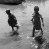 Children playing along the Nile in Uganda, January 11, 2018.