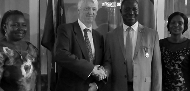 German Ambassador to South Sudan Johannes Lehne (centre left) and Subek David Dada, Director for South Sudan Aviation Security, after receiving the 'Medal of the Order of Merit of the Federal Republic of Germany' in Juba, November 30, 2015. (photo: The Niles | Deng Machol)