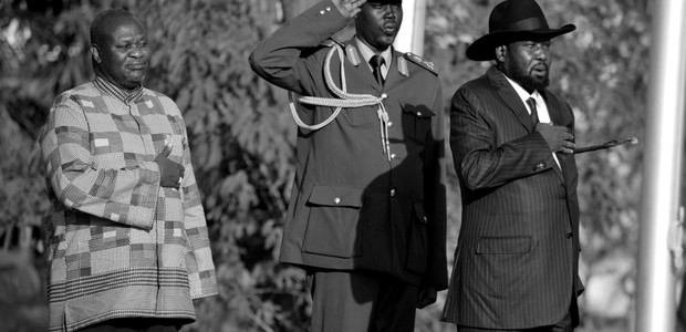 President Kiir and his new First Vice President Riek Machar in Juba, April 26, 2016. (photo: The Niles | Samir Bol)