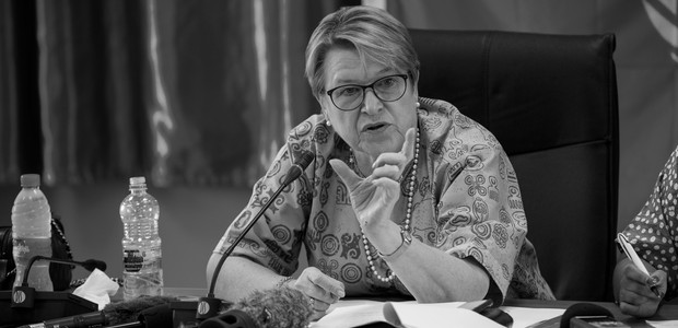 Ellen Loej, Special Representative of the Secretary-General in South Sudan and Head of UNMISS, during a press briefing in Juba on May 4, 2016. (photo: UNMISS | JC McIlwaine)