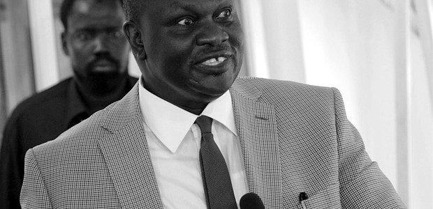 Riek Machar speaking to the press in Juba on March 24, 2012. (photo: The Niles | Akim Mugisa)