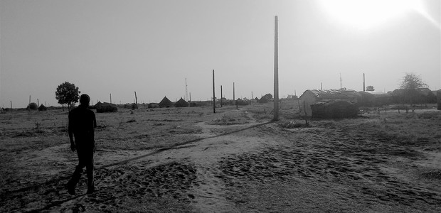 Electricity poles in Abyei: The poles haven't been connected, as violence interrupted the electrification project in 2011. Oil-rich Abyei abuts both Sudan and South Sudan and is claimed by the two countries. (photo: The Niles | Nancy Alek Kuol)