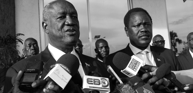 South Sudan's Petroleum Minister, Ezekiel Lul Gatkuoth, and Kuol Manyang Juk, South Sudan's Defence Minister at Juba International Airport on August 23, 2016. (photo: The Niles | Gale Julius)
