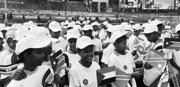 Pupils of Assay School prepared to join a brass band-led procession from Meskel Square to the UNECA Conference Centre in Addis Ababa, to mark the Nile Day on 22 February 2018. (photo: The Niles | Nik Lehnert)