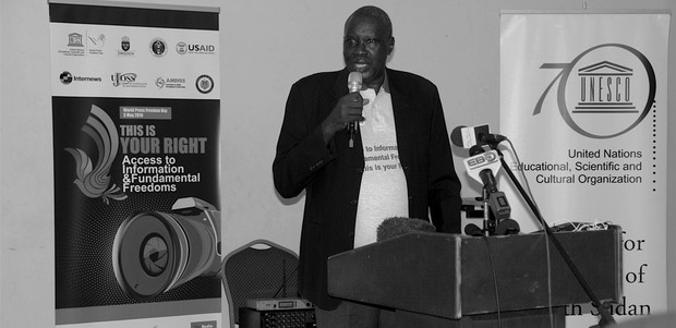"Alfred Taban, the Editor-in-Chief of the Juba Monitor was recognised for ""courageously and consistently advocating for press freedom and media development in South Sudan"" during the World Press Freedom Day 2016 commemoration in Juba on May 3, 2016. (photo: The Niles 